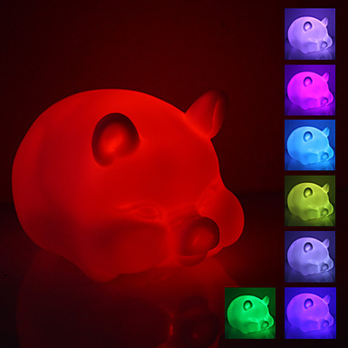 Fat Pig muotoinen värikäs LED Night Light (3xAG13)