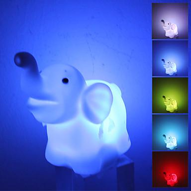 Nydelig Elephant stil fargerike lys LED Night Lampe (3xLR44)