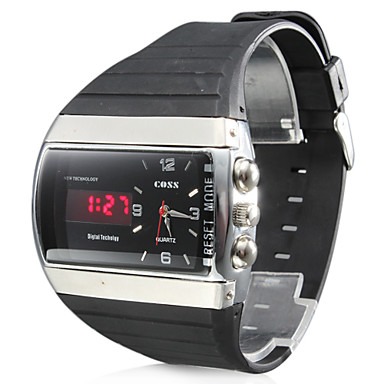 Men's Multi-Functional Style Rubber Multi-Movement Analog-Digital Wrist Watch (Black) Cool Watch Unique Watch