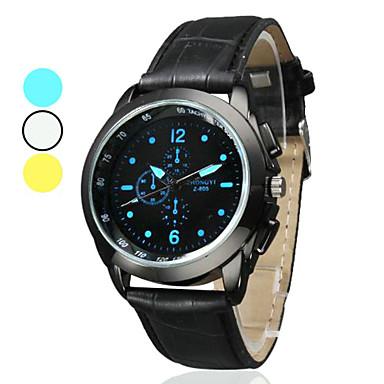 Unisex semplice PU Stile analogico orologio da polso al quarzo (nero)