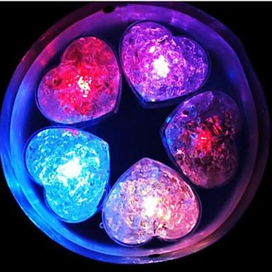 étonnant clignotant en forme de coeur doux glaçon lumière rouge led (12-pack)
