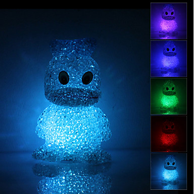Cute Duck Shaped Colorful Light Crystal LED Night Lamp (3xLR44)