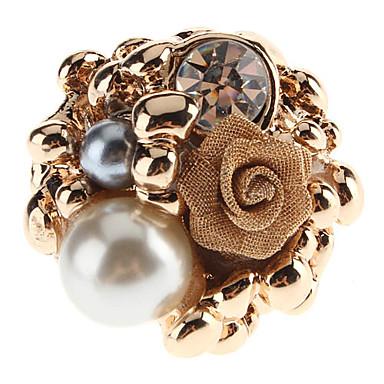 perla anillo tachonado de rosa elegante de la mujer