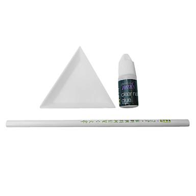 3PCS Nail Art Drill Kit(1 Drill Tool+1 Plate+1 Glue)