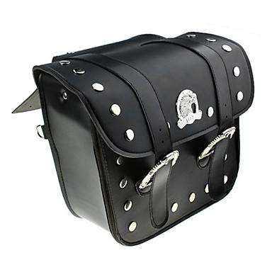 Black Leather + Metal Pannier Style Motorcykel Saddle 385