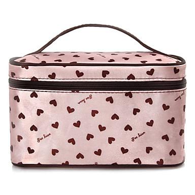 Rose Heart Pattern Portable maquillage cosmétique main Housse Sac de transport avec miroir de maquillage