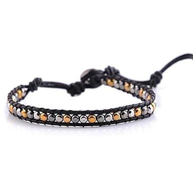 Metal Plated Alloy Beads Woven Bracelet