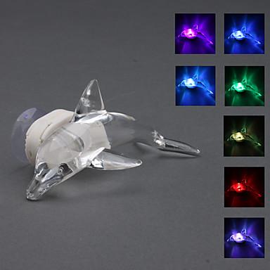 couleur cristal de style dauphin lumière changeante conduit lampe de nuit avec ventouse