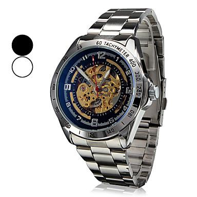 Men's Auto-Mechanical Hollow Dial Steel Band Wrist Watch