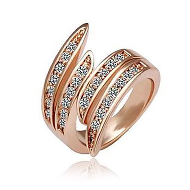 Fashionabla diamantprydda bågformade Alloy 18K guldpläterad ring
