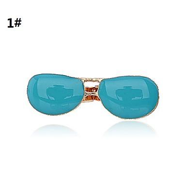lureme®glasses 모양의 에나멜 조절 더블 손가락 반지 (모듬 된 색상)