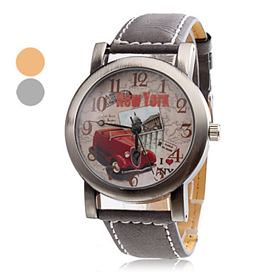 Unisex Car Style PU Analog Quartz Wrist Watch (Assorted Colors)