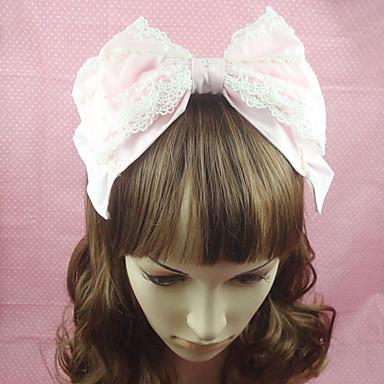 Bunny Girls Prințesă Lolita Accesorii Veșminte de cap Cordeluțe Cute Stil Pentru femei Roz Mată Nod Papion Accesoriu de Păr Dantelă Bumbac Costume