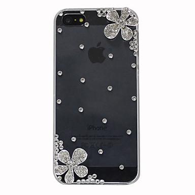 아이폰 5/5S를위한 지르콘 실버 꽃 패턴 하드 케이스 (투명)