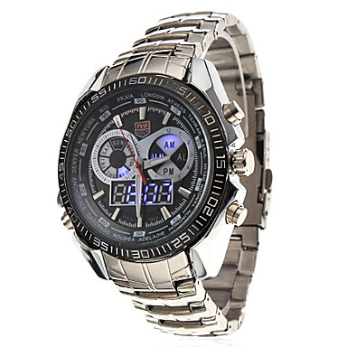 Men's Double-Movement LED Ana-Digi Multi-Functional Silver Alloy Band Wrist Watch