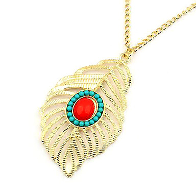 Metal Hollow Out Leaves Feather Alloy Necklace