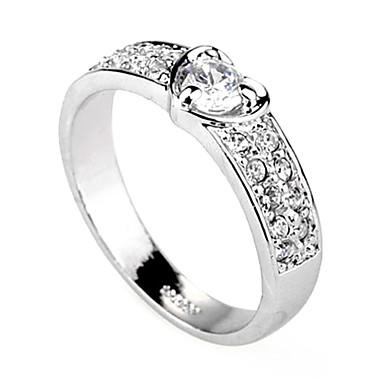 anillo chapado en aleación de platino zirconia fahionable corazón haped (ilver)