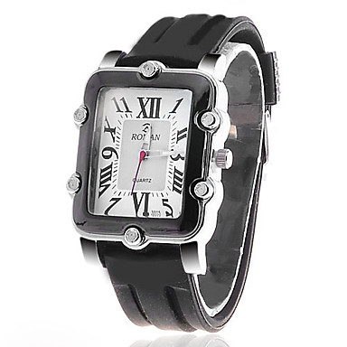 Men's Square Surface Silicon Zircon Analog Quartz Wrist Watch (Black) Cool Watch Unique Watch