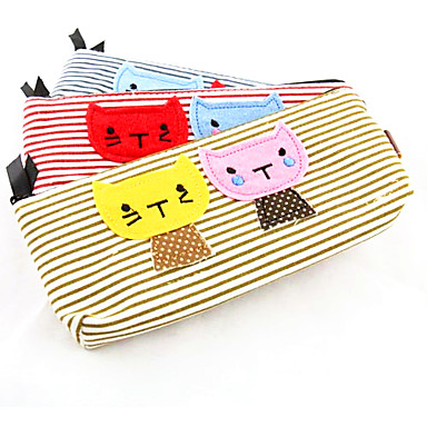 Textile Cartoon Cat Pattern Pencil Bag(Random Colors)