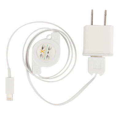 UL Plug AC Wall Charger with Retractable Apple 8 Pin Cable for iPhone 5,iPod (AC110-240V,1A)