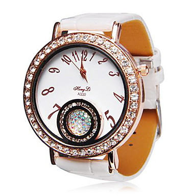 Women's Diamond-Studded Dial Leather Band Quartz Wrist Watch