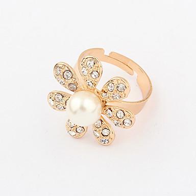 Chapado en oro de la aleación de la perla circón anillo patrón de girasol