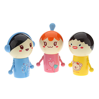 Swing Head Doll Shaped Mini Desktop Super Fan (2 x A, slumpvis färg)