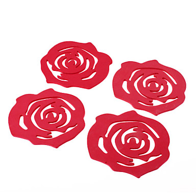 Rose Style Sponge Coaster Cup Mat (4 stuks)