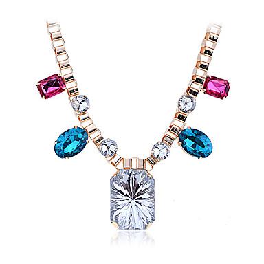 Lureme®Alloy Colorful Zircon Gem Pattern Necklace