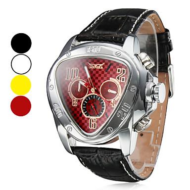 Men's Auto-Mechanical Triangle Shape Leather Band Wrist Watch (Assorted Colors)