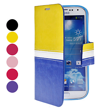 Double-Color PU Leather Case with Stand and Card Slot for Samsung Galaxy S4 I9500 (Assorted Colors)
