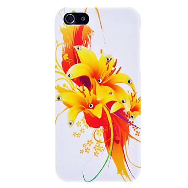 Orange Flower Pattern Hard Case with Rhinestone for iPhone 5/5S