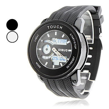 Unisex Touch Screen Analog-Digital Round Case Rubber Band Digital Wrist Watch (Assorted Colors)