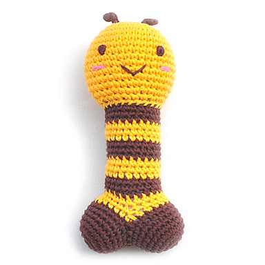 Environmental Friendly Cute Bee Pattern Crocheted Cotton Thread Squeak Toys for Dogs (Length: 18cm)