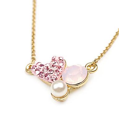 Diamond-bezaaid hartvormige hanger Roze Ketting