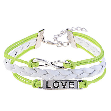 Women's Stainless Steel Leather Infinity Charm Bracelet Leather Bracelet - Love Infinity Purple Yellow Bracelet For Wedding