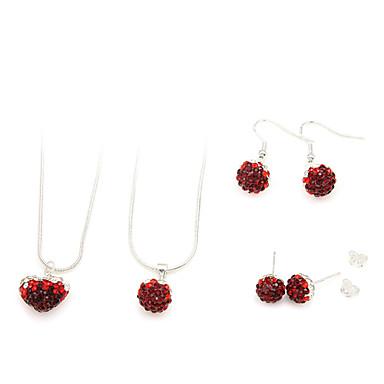 smycken set (röd 2 halsband och 2 par örhängen)