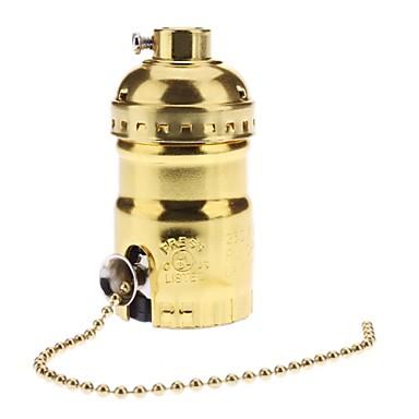 e26 altın renkli taban ampul soketi lamba tutucu yüksek kaliteli anahtarı ile