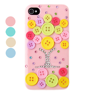 DIY Knappar Ornament Plastic Back Case för iPhone 4/4S (Assorted Color)