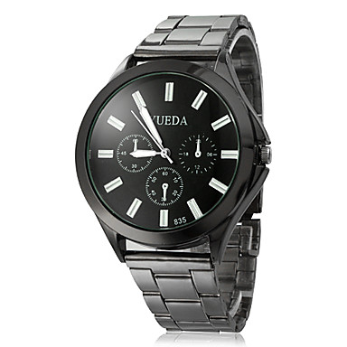 Unisex Big Dial Black Steel Quartz Analog Wrist Watch Cool Watch Unique Watch