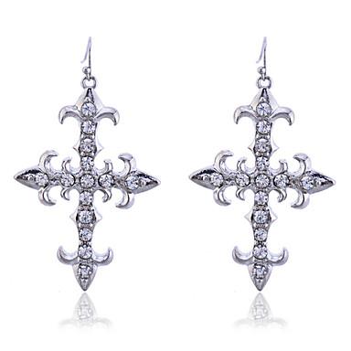 Brincos Compridos Cristal Prata Chapeada Formato de Cruz Prata Jóias Para Festa Diário Casual 2pçs