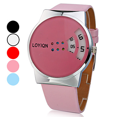 Women's Colorful Rotary Dial PU Band Quartz Wrist Watch (Assorted Colors)