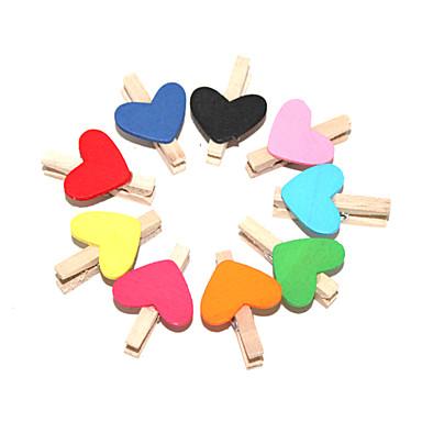 Heart Shaped Color målat trä klipp (10 st)