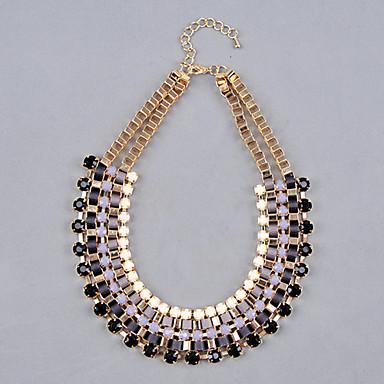 Shixin® Multi Layer Rein Gem Bead tatement Bib Collar Necklace