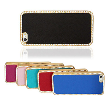 For iPhone 5 Case Case Cover Rhinestone Back Cover Case Solid Color Hard PU Leather for iPhone SE/5s iPhone 5