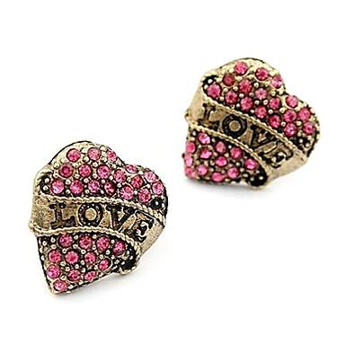 Vidali Küpeler Aşk Kalp Moda lüks mücevher imitasyon Pırlanta alaşım Heart Shape Mücevher Için Günlük