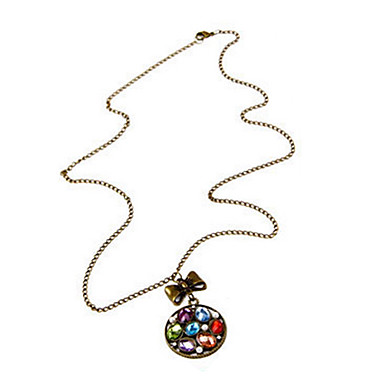European and American retro Rainbow gem pearl disc bow sweater chain long necklace N197