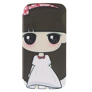 Samsung Galaxy S4 I9500 için Karikatür Kız Desen Deri Hard Case