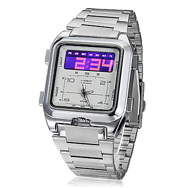 Men's Multi-Function Analog-Digital Dial Steel Band Wrist Watch (Silver) Cool Watch Unique Watch