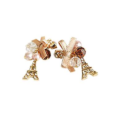 Women's Drop Earrings Luxury Pearl Imitation Diamond Alloy Tower Bowknot Jewelry Daily